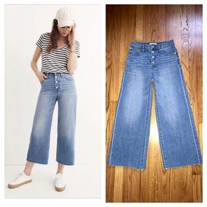 MADEWELL Wide Leg Crop Jeans Button Fly Edition